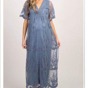 Blue Lace Mesh Overlay Maternity Maxi Dress NWT